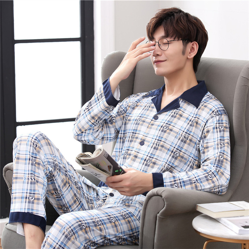 Autumn Winter Men Pyjama Set 100% Cotton Long Sleeve Mens Pajama Set Male Plaid Pajama For Men Sleepwear Suit Homewear XXXL