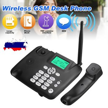 Czarny stały pulpit bezprzewodowy telefon bezprzewodowy 4G GSM biurko telefon karta SIM funkcja SMS pulpit telefon maszyna tanie i dobre opinie LEORY SKUA64499