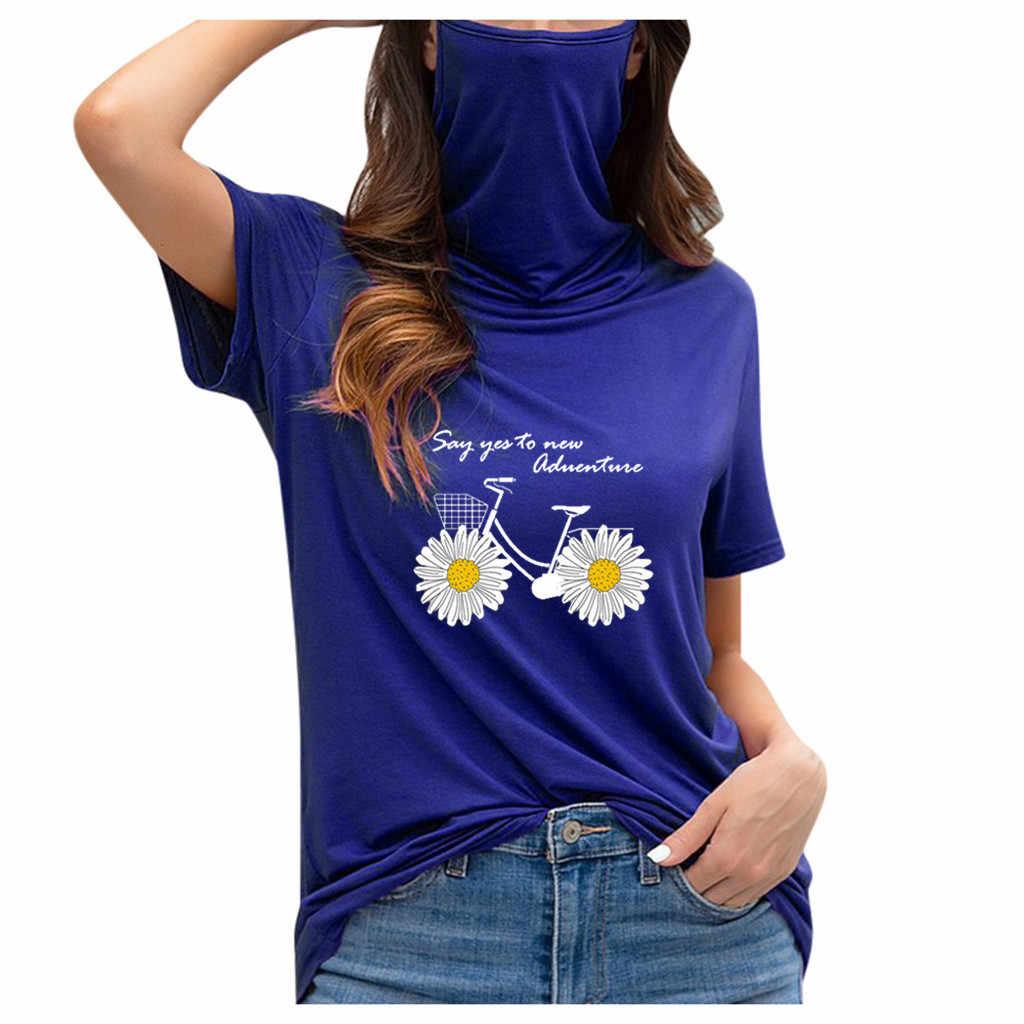 """Nữ Rời Cổ Tròn Tay Ngắn Khẩu Trang Thun Sơ Mi Thời Trang Mới 2020 Camiseta Mujer """"Футболка Женская"""