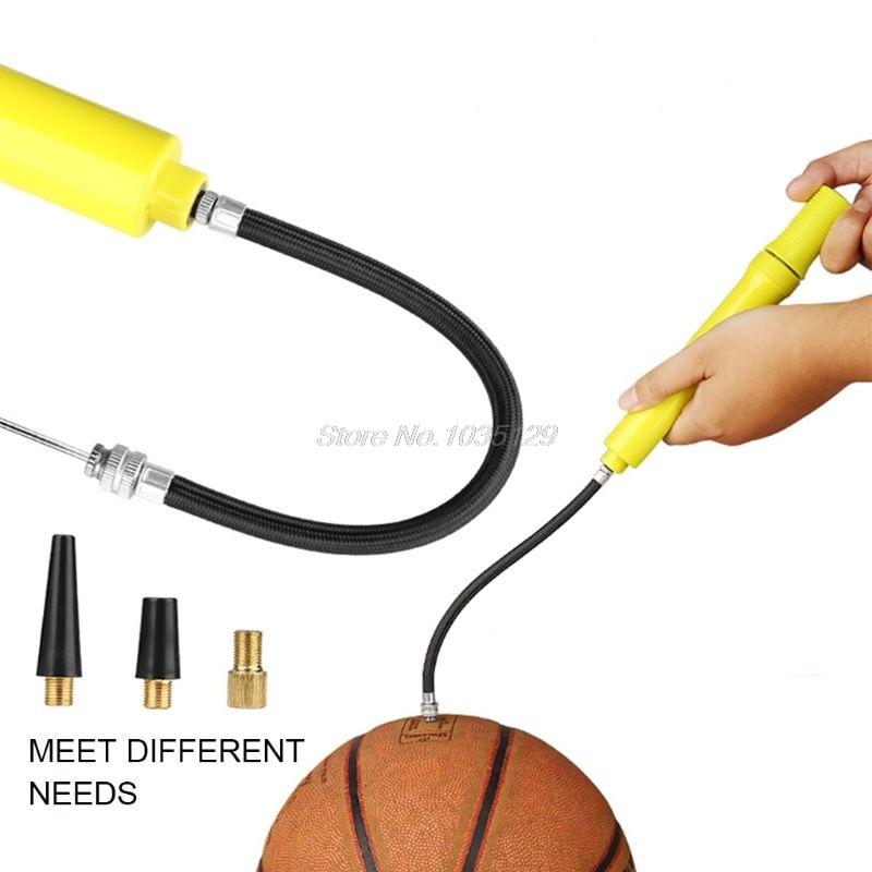 Ball Pump Air Inflator Basketball Football Needle Fitness 2-way Hand Push Pump