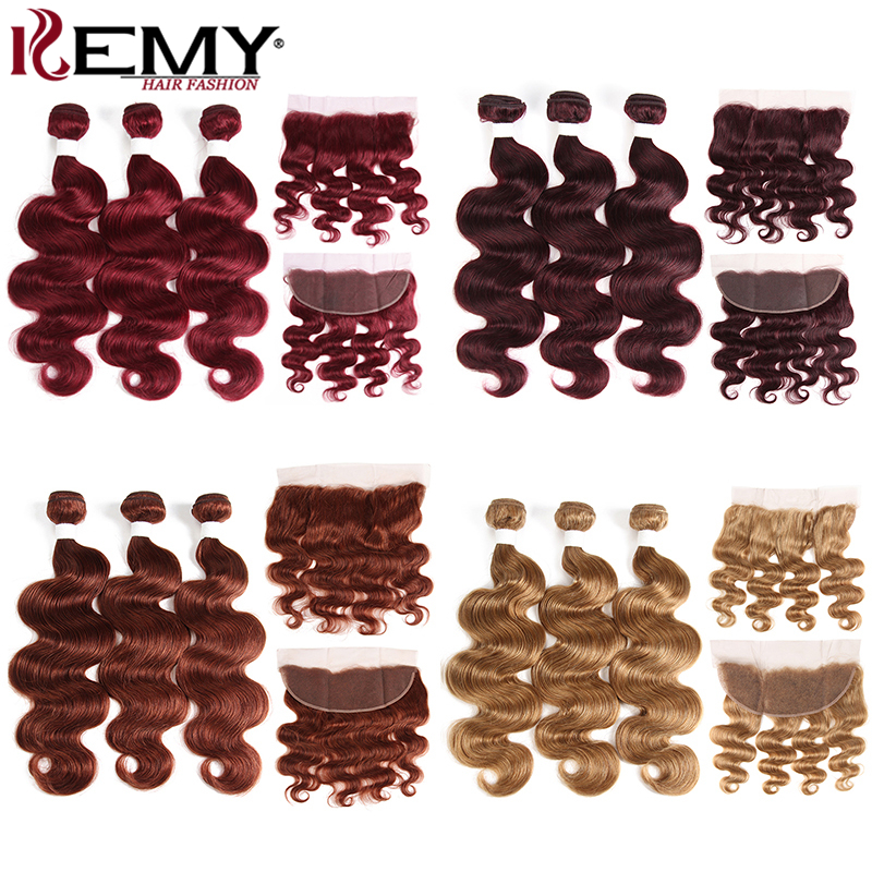 99J/Burgundy Body Wave Human Hair Bundles With Frontal KEMY Red Color Brazilian Hair Weave Bundles With Closure Non-Remy Hair