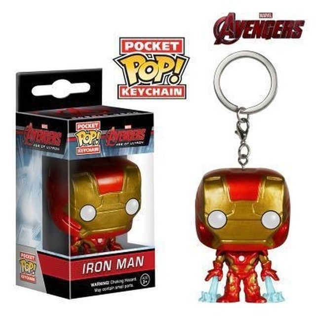 FUNKO POP Superhero Keychain Spider Man Iron Man Black Panther Batman Deadpool Pendant Chain Action Figure Toys for Kids Gifts 4