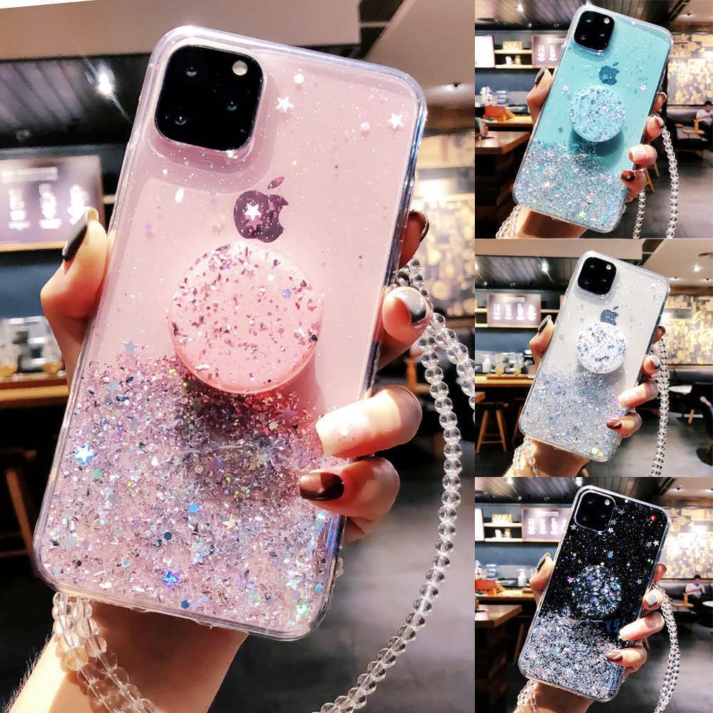 Bling Glitter Case Voor Iphone 11 Pro Max 11 Pro 11 Xs Xr X Xs Max 6 S 6 7 8 Plusslim Case Met Standhouder Telefoon Gevallen Socket