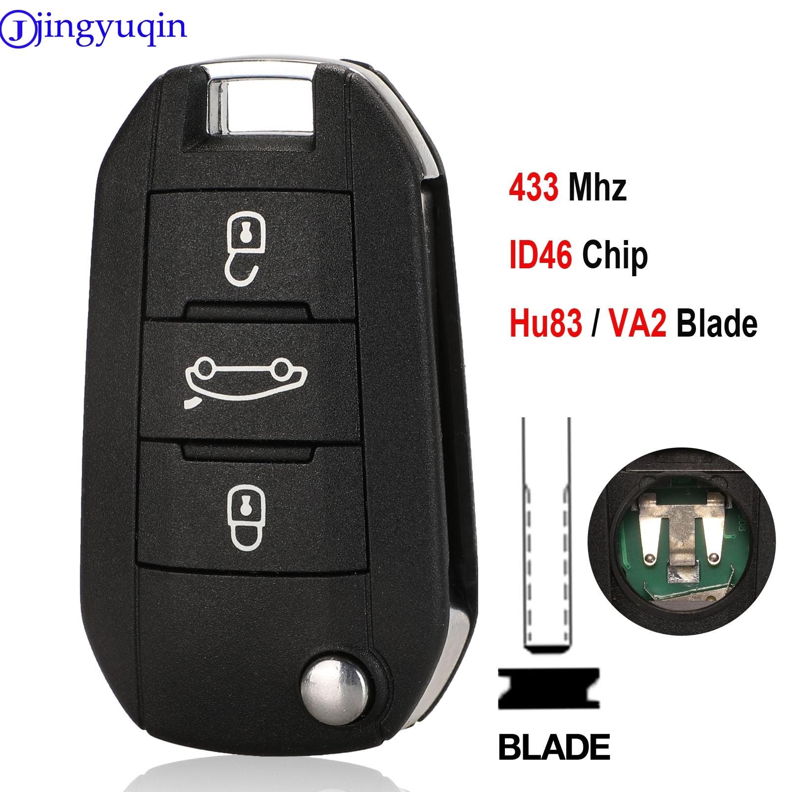 jingyuqin Car Remote Key For Peugeot 208 2008 301 308 508 Hella For citroen 434MHz ID46 VA2 Blade|Car Key| |  - title=