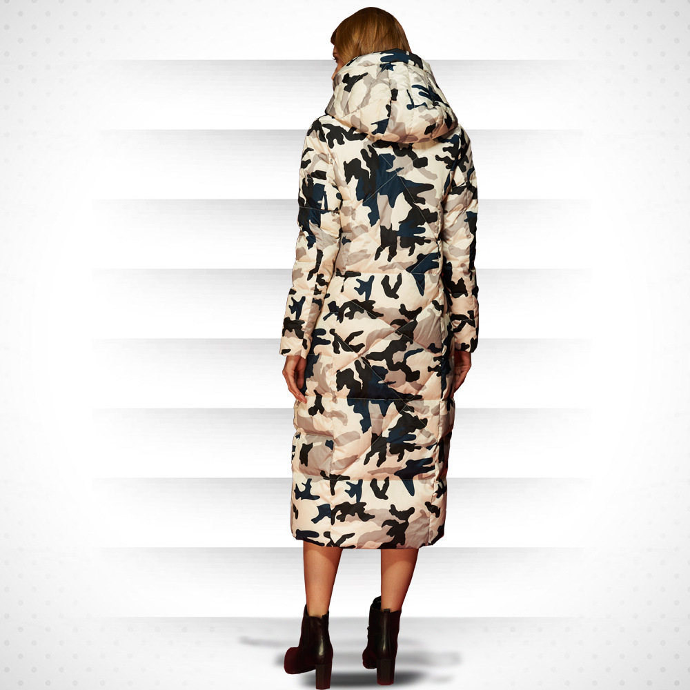 Ladies' Duck Down Jacket 2020 New X- Long Hooded Camouflage Plus Size Feather Jacet Women Thick Coat Plus Szie LX905