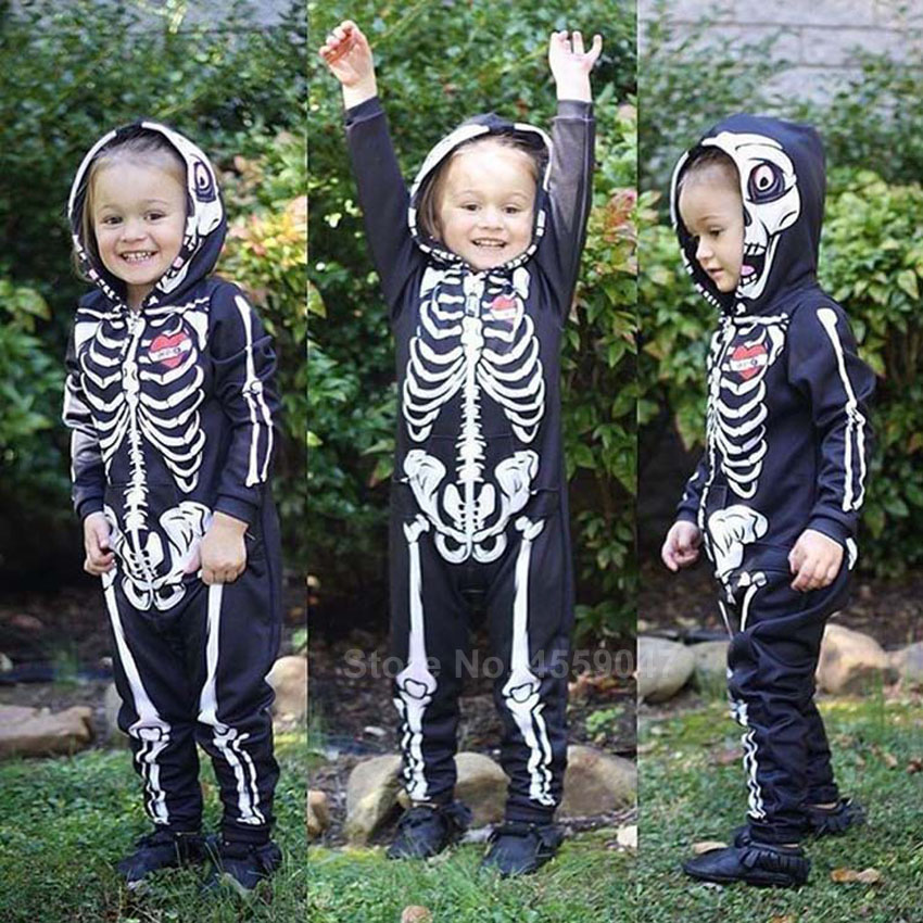 Halloween Skeleton Cosplay Costumes for Newborn Baby Hooded Romper Jumpsuit Novelty Scary Skull 3D Print Boys Gothic Bodysuit 1