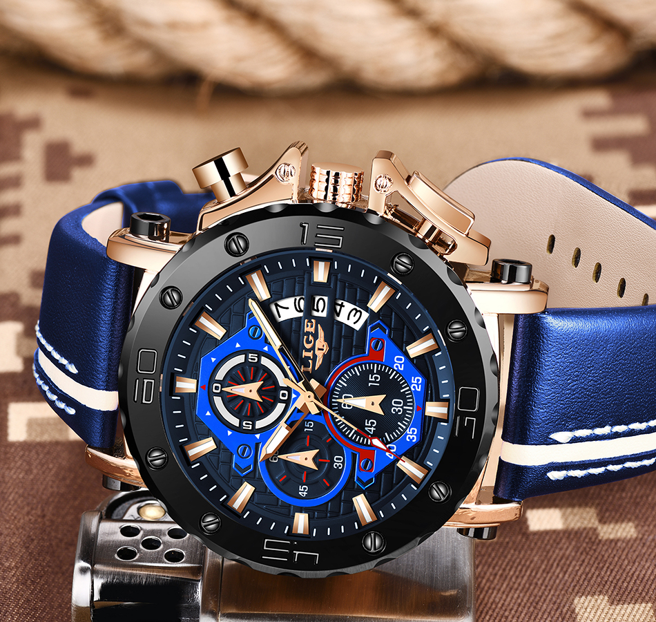 H0ca5534cced6427188cad395e03a3a77E - LIGE New Mens Watches Top Brand Luxury Big Dial Military Quartz Watch Leather Waterproof Sport Wristwatch Relogio Masculino