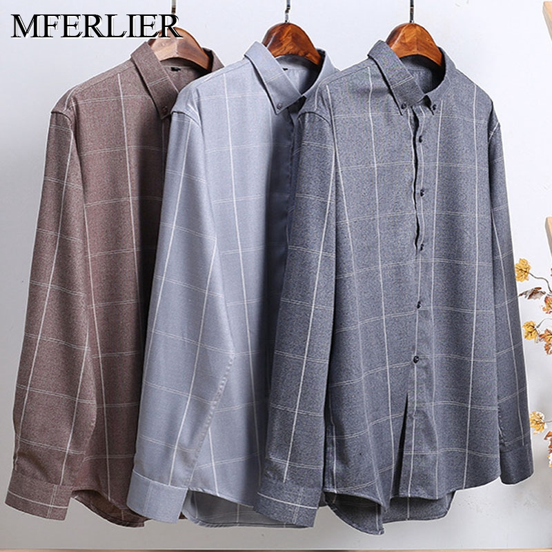 Spring Autumn Stripe Men Shirt 5XL 6XL 7XL 8XL Bust 146cm Long Sleeve Plus Size Men Shirt 3 Colors