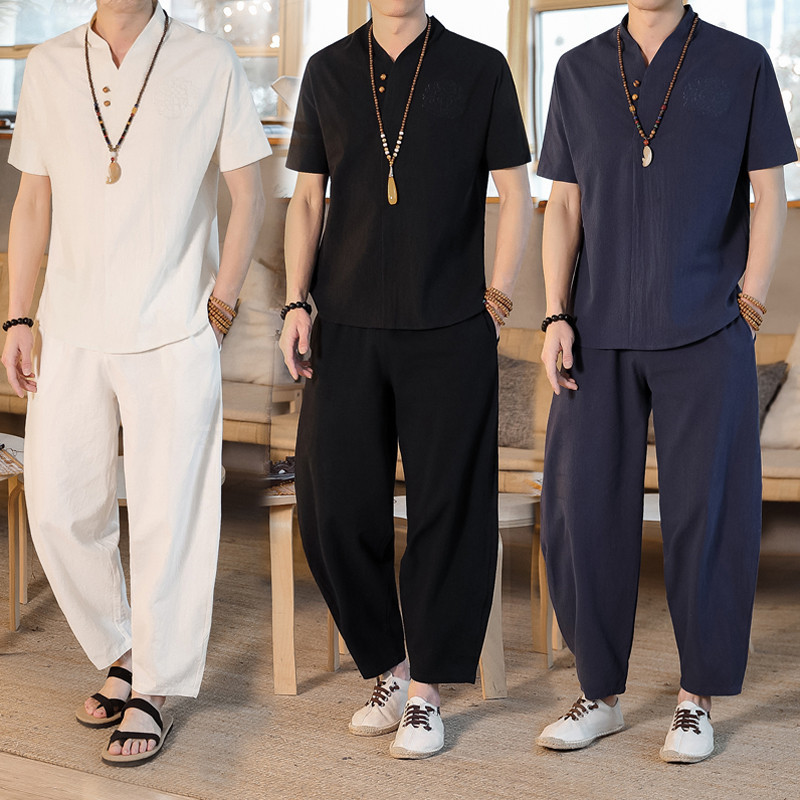 Flax Short Sleeve MEN'S T-shirt Set Summer Chinese-style Loose-Fit V-neck Half Sleeve Tops Cotton Linen Pants Two-Piece Set Men'