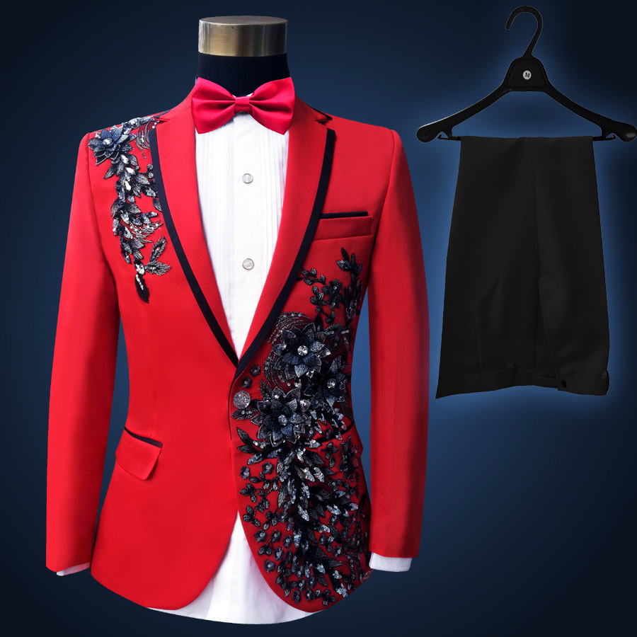 Red Embroidered Paillette Beads Suit  Hight Quality Stage Suit Men DJ Singer Ceremonies Banquet Suit Wedding  Costume Homme 3xl