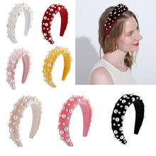 Women Bride Thick Sponge Velvet Headband Semicircle Imitation Pearl Beaded Hair Hoop Jewelry Banquet Prom Party Styling Headwear