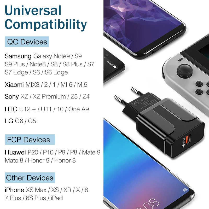 Ykz USB Charger Pengisian Cepat 3.0 QC3.0 Cepat Pengisian Uni Eropa Plug Charger Ponsel untuk Iphone Samsung Xiaomi QC 3 0 Baru
