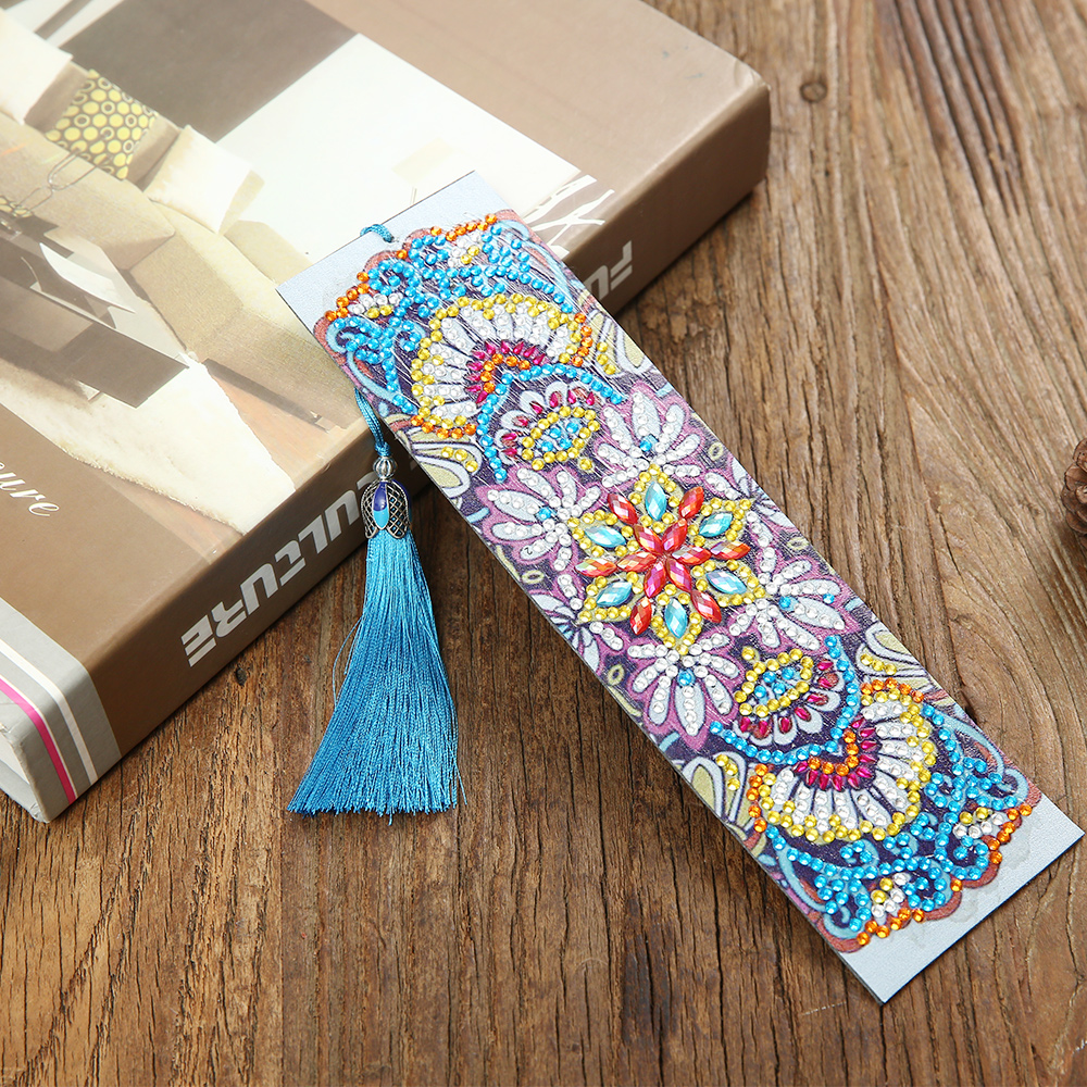 2019 New 5D DIY Diamond Painting Leather Bookmark Tassel Bookmarks Special Shaped Diamond Embroidery DIY Craft Bookmark