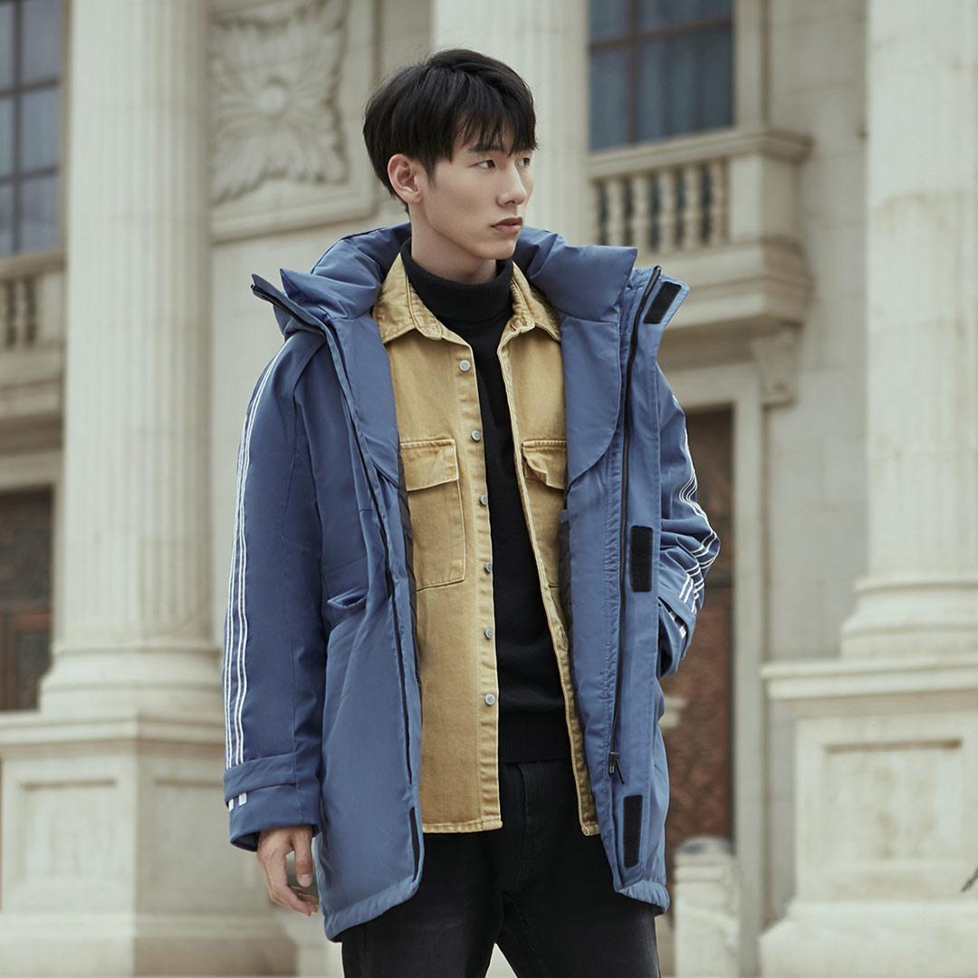Xiaomi 90Fun, модная 3D вышивка, 90% утиный пух, куртка, Ipx4, водонепроницаемая, против сверления, ткань, с капюшоном, мужские пуховики, пальто - 6