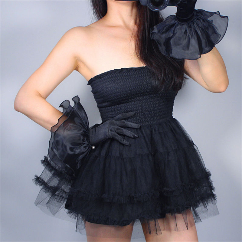 Silk Lace Gloves Elastic Mercerized Silk Satin Black Ultra Short Large Double-Layer Mesh Organza Ruffle Women Gloves WSG02