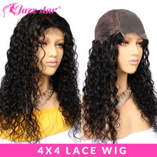 Brazilian Wig 4*4 Human Hair Wigs for Black Women Natural Wave Lace Closure Wig With Baby Hair Jazz Star Hair Lace Wig Non Remy(China)