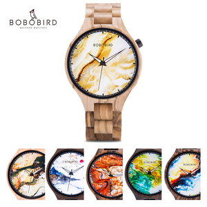 Relogio Masculino BOBO BIRD Personalized Custom Watch Men Luxury Brand Photo Print Marbling Wristwatches Male Clock Dropshipping(China)
