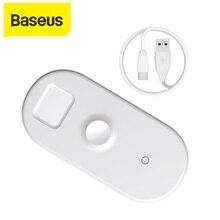 Baseus carregador sem fio 3 em 1 para apple watch, carregador rápido para iphone xs x samsung s10 10w 3.0 carregamento para eu watch e fone de ouvido