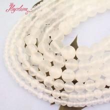 Frete grátis aaa redondo branco selenite solta contas de pedra natural para diy colar pulseira jóias fazendo 5 pçs/15
