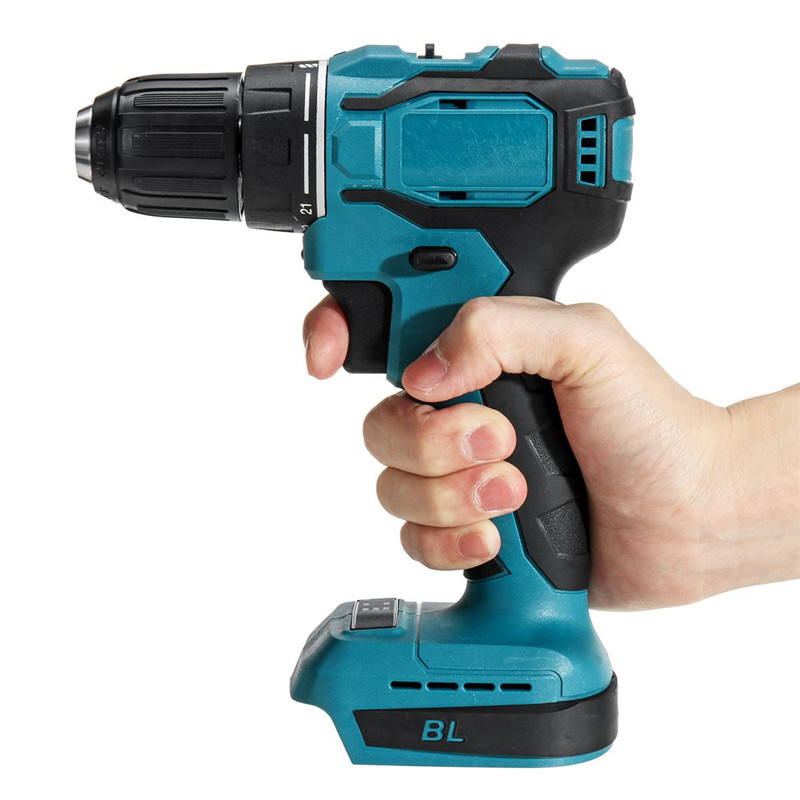 18V 90Nm 2 in 1 Electric Cordless Drill Brushless Drill Impact Drill Screwdriver Power Tool Rechargeable For Makita Battery