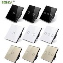 BONDA Touch Switch EU/UK standard White Crystal Glass Panel Touch Switch, AC220V,1 Gang 1 Way, EU Light Wall Touch Screen Switch 1 2 3 gang 1 way touch switch crystal glass panel led light touch screen switch eu uk ac 110v 220v touch sensor wall switch