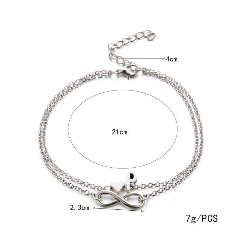 Mode Bracelets couleur argent géométrique infini symbole 26 lettres/majuscule bijoux cadeaux pour femmes & fille 21 cm, 1 PC