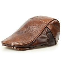 H3505 кожаная кепка с козырьком для мужчин из воловьей кожи высокого качества модная шапка Осень Зима Повседневная Простая защита ушей шапки для отца среднего возраста