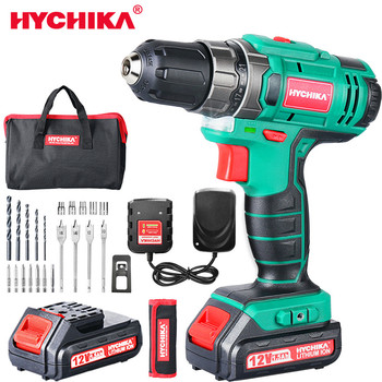 цена на HYCHIKA 12V 18V 20V Double Speed Electric Drill Cordless Hand Drill Mini Electric Screwdriver Rechargable Lithium Battery Drill