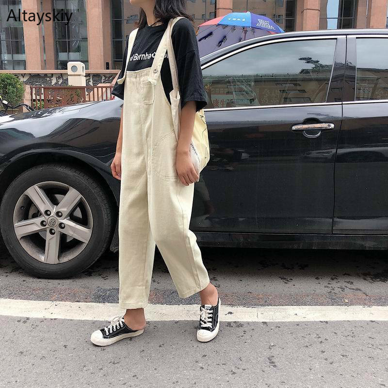 Jumpsuits Women 2020 Classic Leisure Solid High Waist Ladies Overalls Students Lovely Womens Ankle-length Pants High-quality