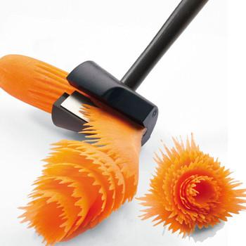 VIERUODIS owoce warzywa kreatywny plastikowy nóż obrotowy Peeling cięte kwiaty kuchnia gotowanie otwór kształt Cutter gadżet gospodarstwa domowego tanie i dobre opinie Z tworzywa sztucznego Spiral Cut Flower 6 5*7 5*18 5cm