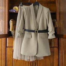 Feminino oversized terno longo casaco de malha saia de duas peças conjunto 2020 outono inverno feminino elegante sólido blazer vestido ternos com cinto