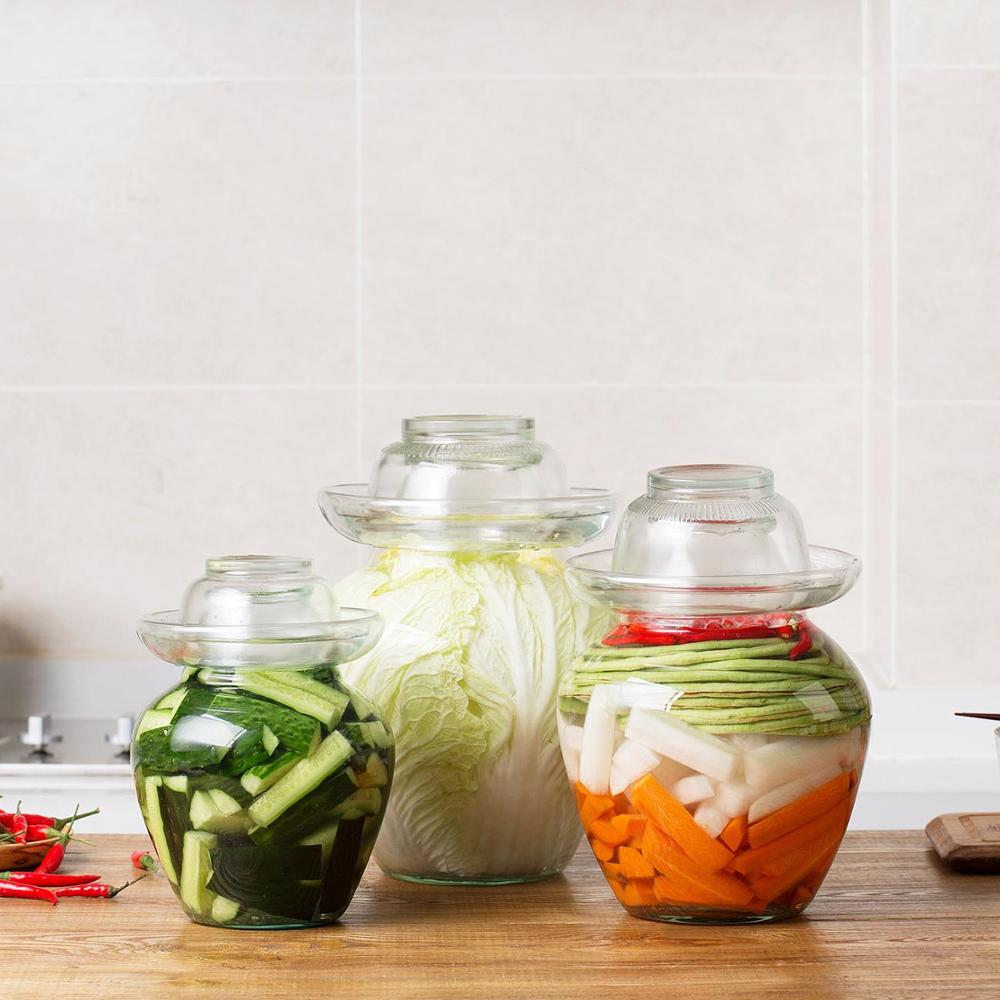1PC Japan Korea Transparent Glass Kimchi Jar Kitchen Thickened Pickled Cans Household Pickled Jar Pickles Cylinder Sealed Cans
