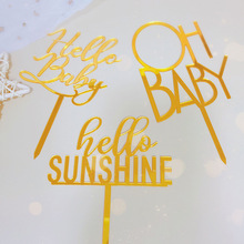 Topper Gold Cake-Decorations Acrylic Cake Sunshine Baby Shower Birthday-Party for Kids