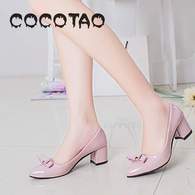 High Heels Women Thick With White Shoes Female With 5 Cm Bowknot Pointed Joker Work Shoes Big Yards23