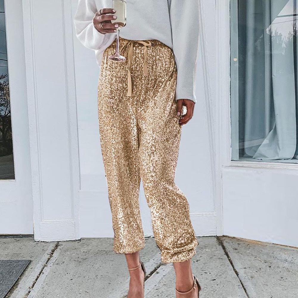 Gold Sequin Shiny Wide Beam Leg Pants Women Casual Christmas Party Harem Sexy Pants High Waist Lace Up Trousers Streetwear Green