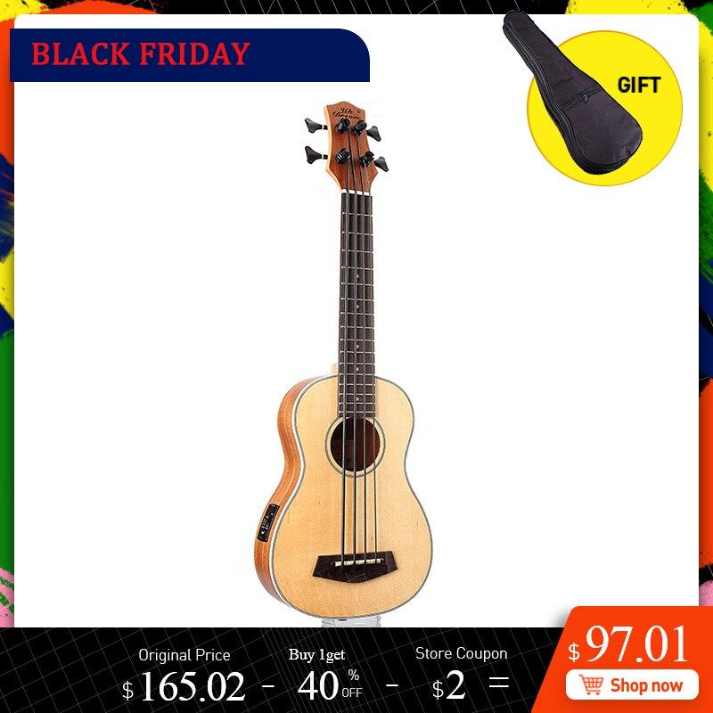 30 Inch Wooden Electrica Bass Guitar 4 Strings Ukulele Musical Instruments Professional Picea Asperata U Bass Ukulele UB-513