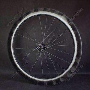 Image 3 - Pro luz x60mm rodas de carbono ciclismo ultra leve x 60 rodas ciclismo estrada jantes carbono novatec centro bloqueio para venda