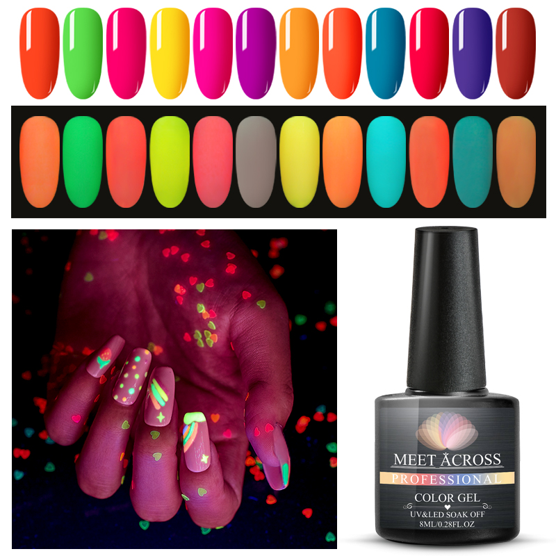 MEET ACROSS 2PCS/SET Luminous Gel Polish Shimmer Glitter Gel Lacquer Semi Permanent Soak Off UV LED Nail Art Gel Varnish