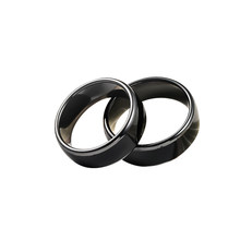 T5577 ou uid chip rfid preto cerâmica inteligente dedo reescrever anel 125khz/13.56mhz usar para homem ou mulher