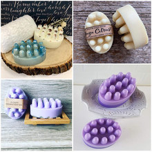 Soap-Making-Tools Massage Form-Suppliers Silicone Handmade DIY 3D Oval FUNBAKY Creative