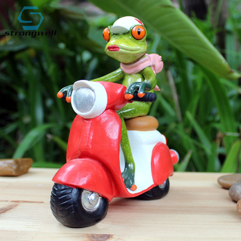 Strongwell American Motorcycle Frog Lady Figurines Animal Miniature Model Home Decoration Valentine's Day Birthday Gift