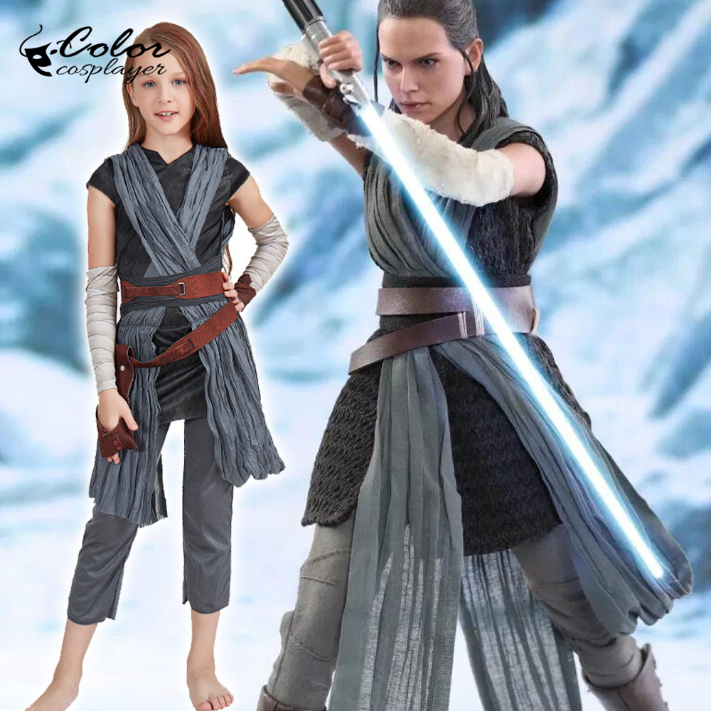 Color Cosplayer The Force Awakens Star Wars Rey Cosplay Costume For Kids Girl's Purim Carnival Cos Sets Movie Costumes
