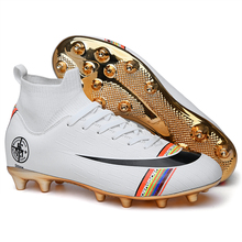Gold bottom men's soccer shoes indoor sports shoes turf spikes Superfly Futsal direct sales rainbow high help football shoes