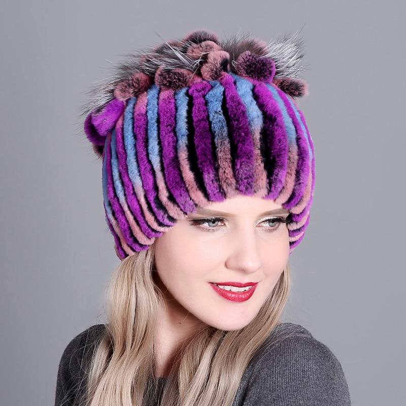 Купить женская зимняя шапка плотная теплая из цветного кроличьего меха