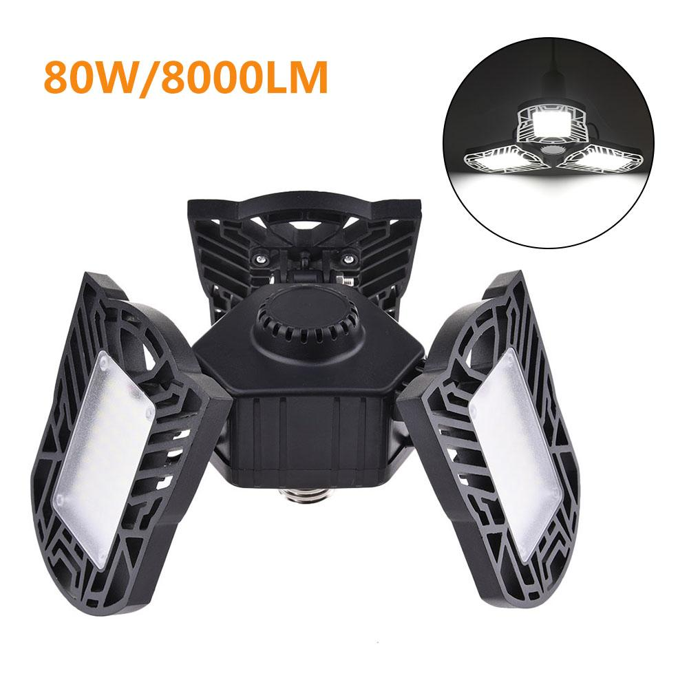 2020 NEW 80W/8000LM LED Adjustable Three Light Garage Lamp High Bay Light UFO Workshop Parking Warehouse Lamp 85-265v E27/E26