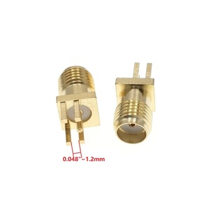 "Image 3 - 100Pcs זהב SMA שקע נקבת PCB הלחמת קליפ קצה הר RF מתאם מחבר 0.062 או 0.048"" 0.031"""