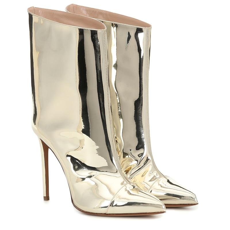 Bottines dorées pour femmes chaussures femme 2019 bout pointu chaussons à talons hauts mode dames botte courte femmes automne chaussures - 2