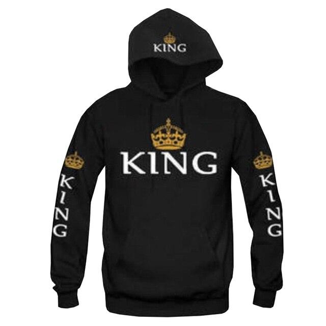 King And Queen Couple Matching Hoodie Sweatshirt Golden Crowns 2