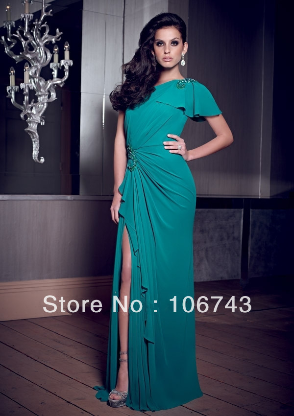 Free Shipping 2018 Design Vestido De Festa Sexy Formal Green Long Slit One Shoulder Elegant Party Prom Gown Bridesmaid Dresses