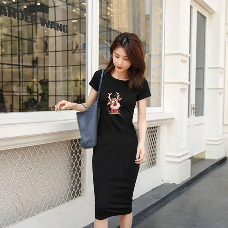 Купить рождество лося kawaii женское платье с коротким рукавом повседневная